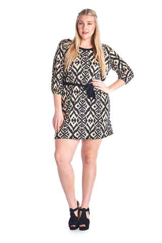 Marcelle Margaux Plus 3/4 Sleeve Printed Jersey Tie Waist Shirt Dress - WholesaleClothingDeals - 1