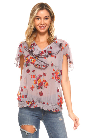 Women's Printed Chiffon Smocked Waist Ruffle Top