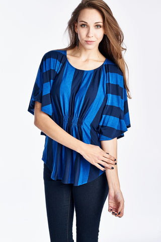 Christine V Wide Stripe Cape Sleeve Top - WholesaleClothingDeals - 1
