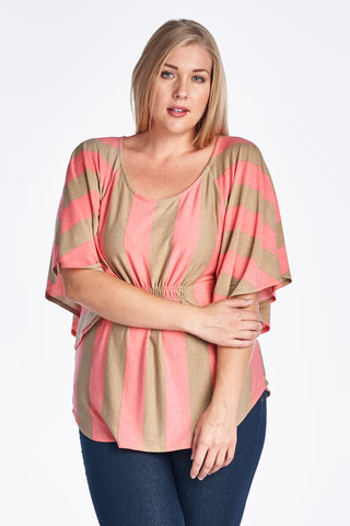 Christine V Plus Stripe Cape Sleeve Top - WholesaleClothingDeals - 6