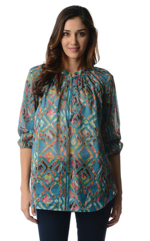 Christine V 3/4 Sleeve Printed Chiffon Button Top - WholesaleClothingDeals - 1