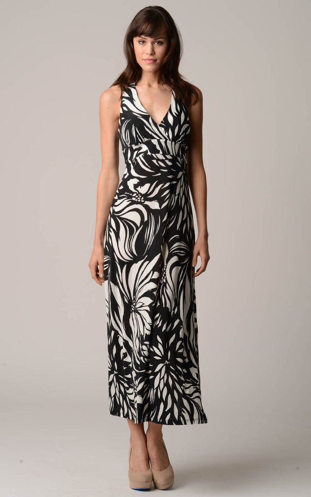 Christine V Back Cut-Out Empire Waist Printed Maxi Dress - WholesaleClothingDeals - 1