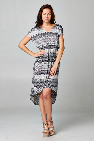 Christine V Chevron High-Low V-Neck Dress - WholesaleClothingDeals - 1