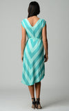 Christine V Chevron Stripe Jersey Hi-Low Dress - WholesaleClothingDeals - 7