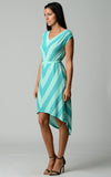 Christine V Chevron Stripe Jersey Hi-Low Dress - WholesaleClothingDeals - 6