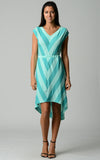 Christine V Chevron Stripe Jersey Hi-Low Dress - WholesaleClothingDeals - 5