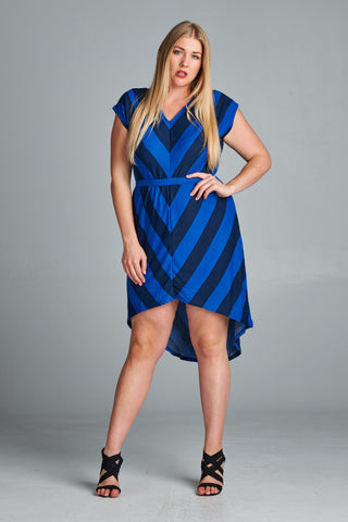 Christine V Plus Chevron Stripe Hi-Low Dress - WholesaleClothingDeals - 9