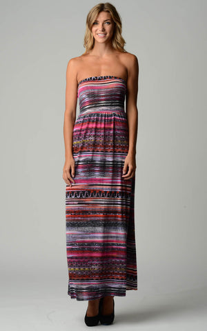 Urban Love Abstract Stripe Strapless Maxi Dress - WholesaleClothingDeals - 1