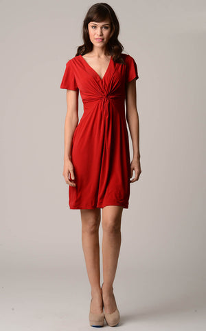 Christine V Short Sleeve Gathered V-Neck Dress - WholesaleClothingDeals - 1