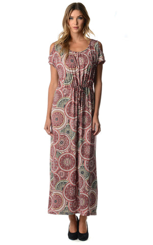 Christine V Cold Shoulder Printed Tie Waist Maxi Dress - WholesaleClothingDeals - 1