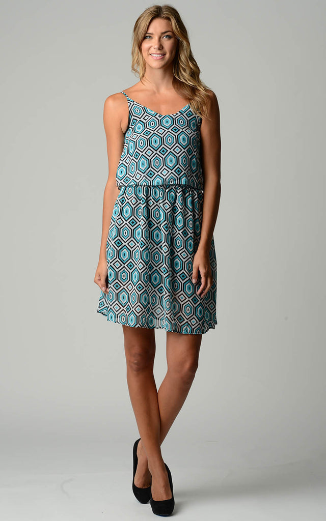 Christine V Printed Chiffon Blouson Dress - WholesaleClothingDeals - 1