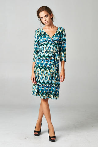 Christine V Front Tie Printed Dress - WholesaleClothingDeals - 1