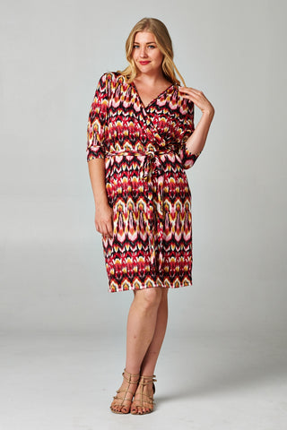 Christine V Plus 3/4 Sleeve Printed Wrap Dress - WholesaleClothingDeals - 1