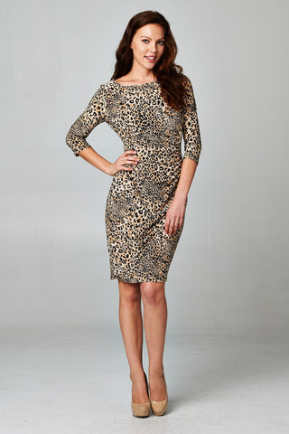 Christine V 3/4 Sleeve Slim Fit Sheath Dress with Leopard Pattern - WholesaleClothingDeals - 1