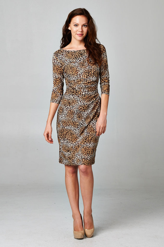 Christine V 3/4 Sleeve Slim Fit Sheath Dress with Leopard Pattern - WholesaleClothingDeals - 6