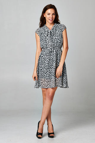 Christine V Printed Tie Neck Dress - WholesaleClothingDeals - 4
