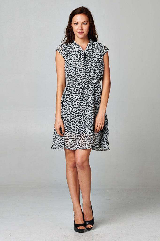 Christine V Printed Tie Neck Dress - WholesaleClothingDeals - 1