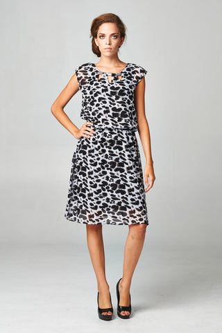 Christine V Printed Chiffon Blouson Dress with Neck Trim - WholesaleClothingDeals - 1