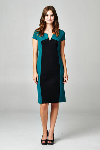Christine V Colorblock Ponte V-Neck Dress - WholesaleClothingDeals - 1