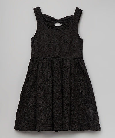 Jojo Belle Black Laced A-Line Kids Dress - WholesaleClothingDeals - 1