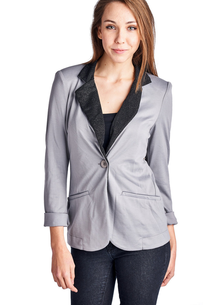 Urban Love Blazer with Contrast Glitter Lapell - WholesaleClothingDeals - 1