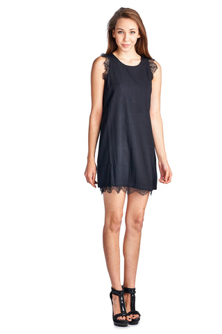Urban Love Sleeveless Short Dress with Lace Detail - WholesaleClothingDeals - 1