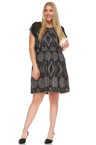 Marcelle Margaux Plus Printed Textured Dress -  - 1