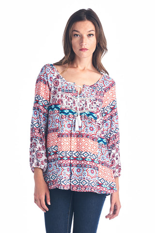 Christine V Tassel Tie Loose Top - WholesaleClothingDeals - 1
