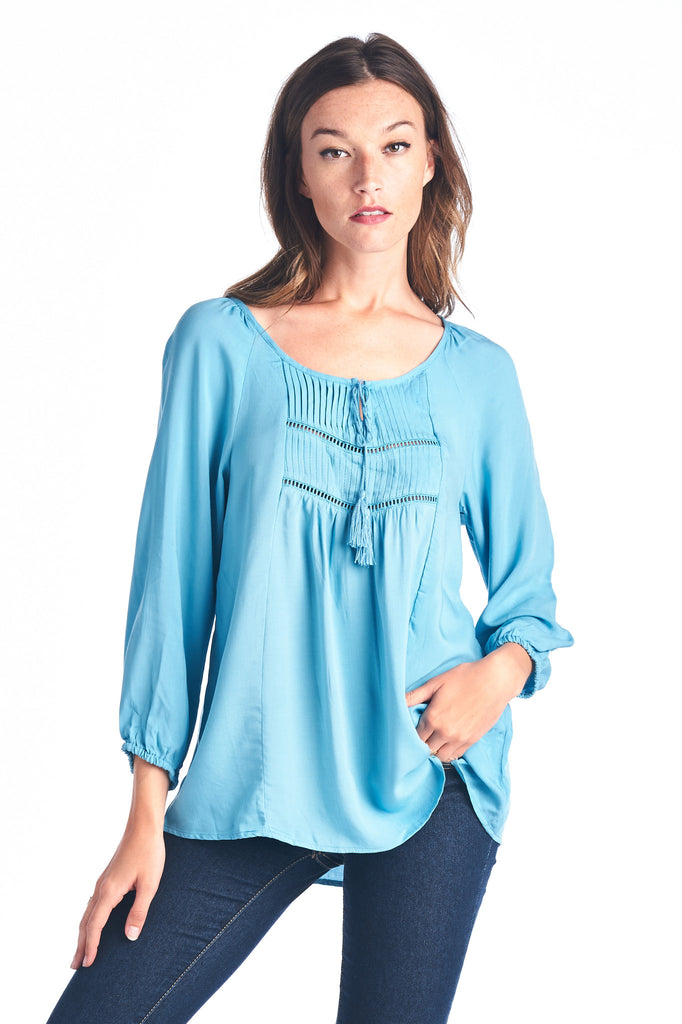 Christine V Tassel Tie Loose Top - WholesaleClothingDeals - 6