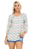 Christine V Printed Pleated Stud Long Sleeve Top -  - 1