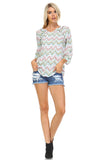 Christine V Printed Pleated Stud Long Sleeve Top -  - 4
