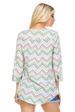 Christine V Printed Pleated Stud Long Sleeve Top -  - 3