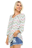 Christine V Printed Pleated Stud Long Sleeve Top -  - 2