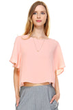Urban Love Loose Cropped Chiffon Top - WholesaleClothingDeals - 1