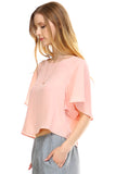 Urban Love Loose Cropped Chiffon Top - WholesaleClothingDeals - 2
