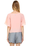 Urban Love Loose Cropped Chiffon Top - WholesaleClothingDeals - 3