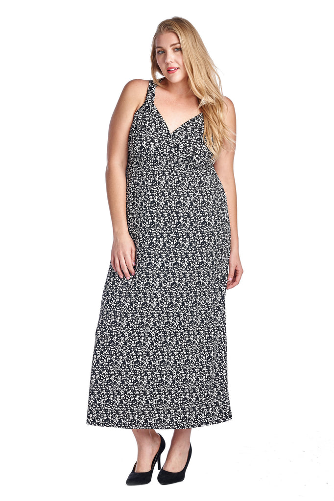 Marcelle Margaux Plus Printed ITY Surplice Maxi Dress - WholesaleClothingDeals - 1