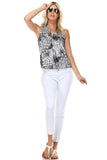 Marcelle Margaux Split Back V-Neck Sleeveless Printed Top - WholesaleClothingDeals - 2