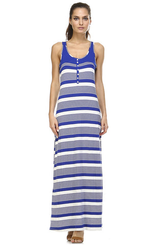 Christine V Variegated Stripe Rayon Spandex Maxi Tank Dress - WholesaleClothingDeals - 5