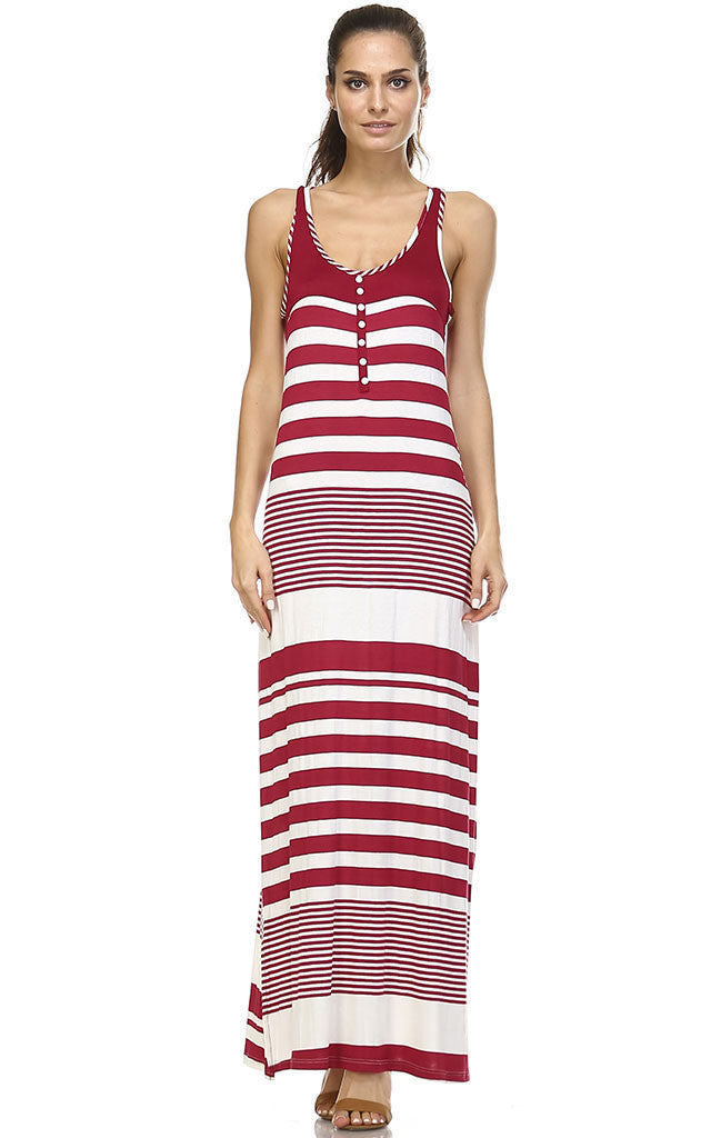 Christine V Variegated Stripe Rayon Spandex Maxi Tank Dress - WholesaleClothingDeals - 1