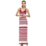 Christine V Variegated Stripe Rayon Spandex Maxi Tank Dress - WholesaleClothingDeals - 2
