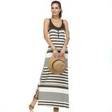 Christine V Variegated Stripe Rayon Spandex Maxi Tank Dress - WholesaleClothingDeals - 10