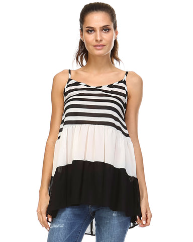 Urban Love Tiered Halter Stripe Tank - WholesaleClothingDeals - 1