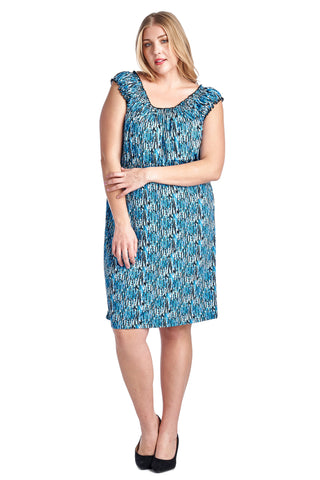 Marcelle Margaux Plus Scoop Neck Smocked Peasant Dress - WholesaleClothingDeals - 1
