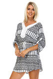 Marcelle Margaux Printed V-neck Waist Tie Dress -  - 3