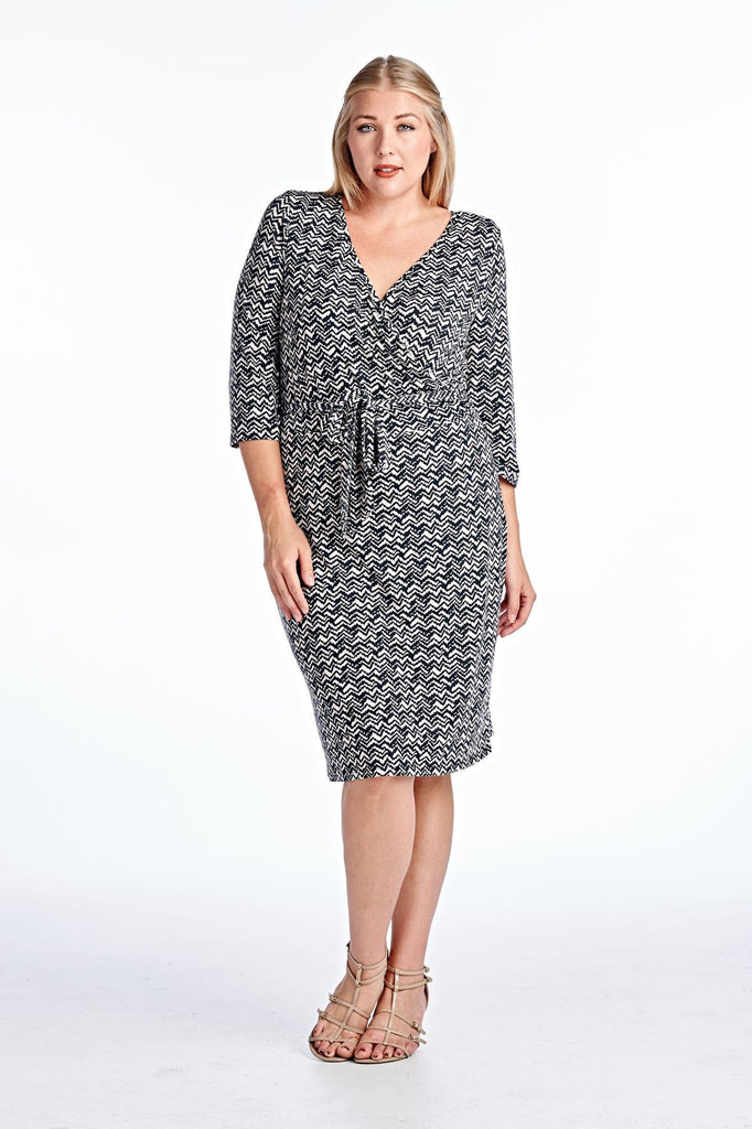 Marcelle Margaux Plus Wrap Midi Dress with Front Tie - WholesaleClothingDeals - 7