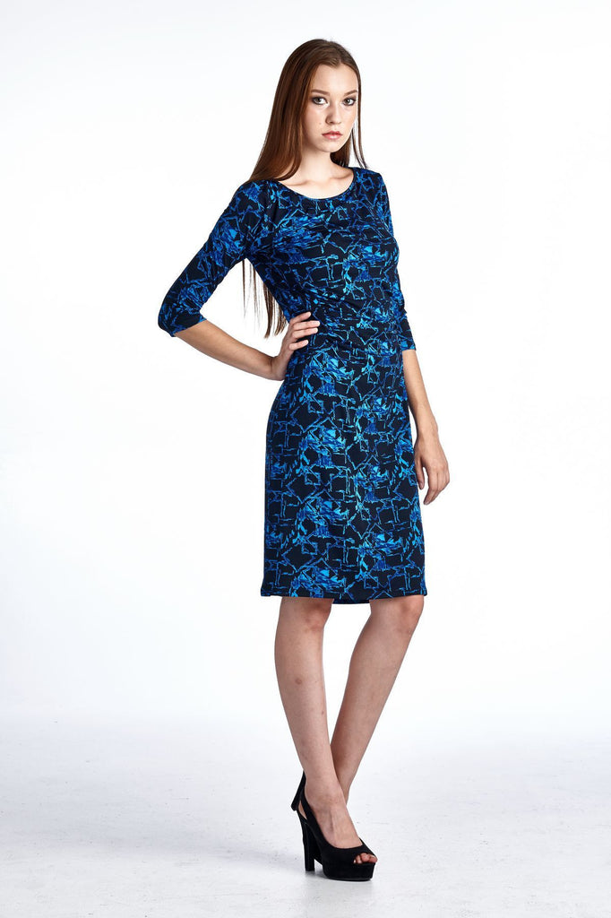 Marcelle Margaux 3/4 Sleeve Slim Fit Sheath Dress with Abstract Patterns - WholesaleClothingDeals - 2