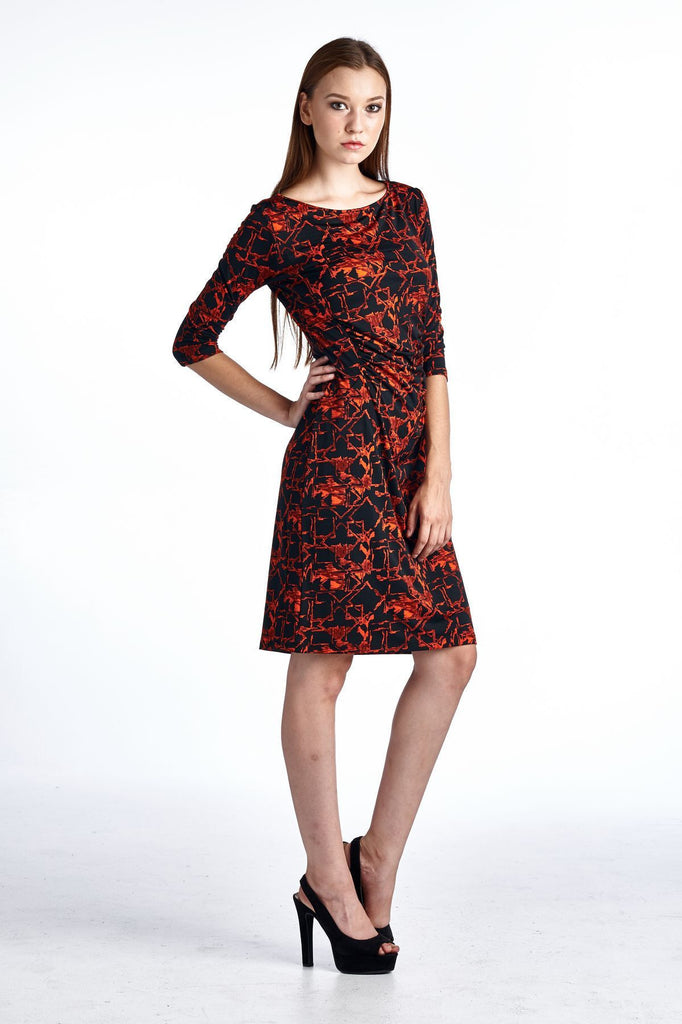 Marcelle Margaux 3/4 Sleeve Slim Fit Sheath Dress with Abstract Patterns - WholesaleClothingDeals - 11