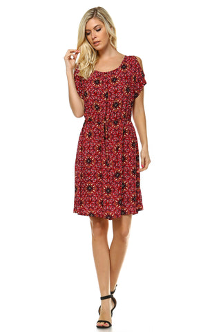 Women's Printed Cold Shoulder Dress