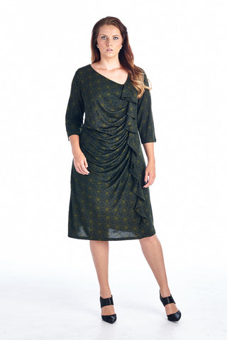 Marcelle Margaux Plus Size 3/4 Sleeve Midi Dress with Geometric Pattern - WholesaleClothingDeals - 1